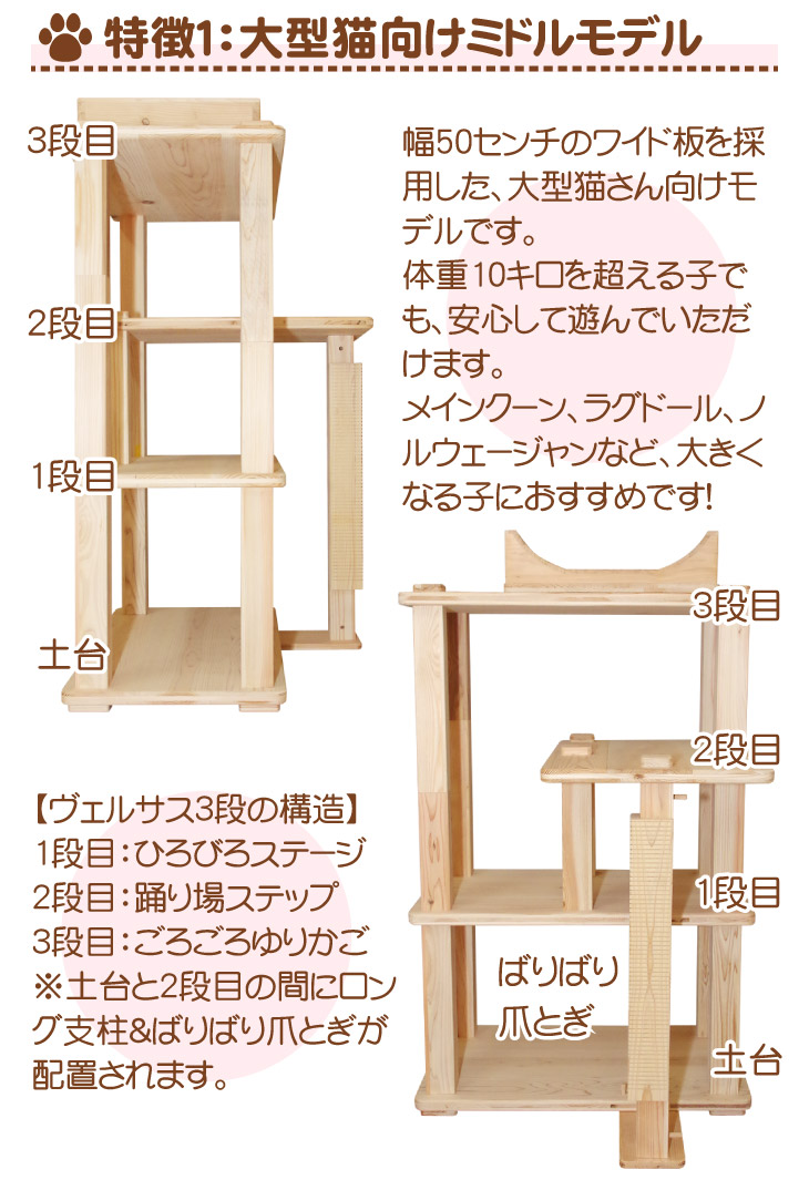 大型猫向けミドルタワー
